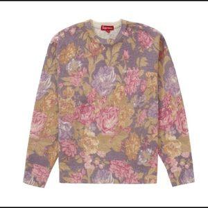 Supreme Printed Floral Angora Sweater Purple SS19